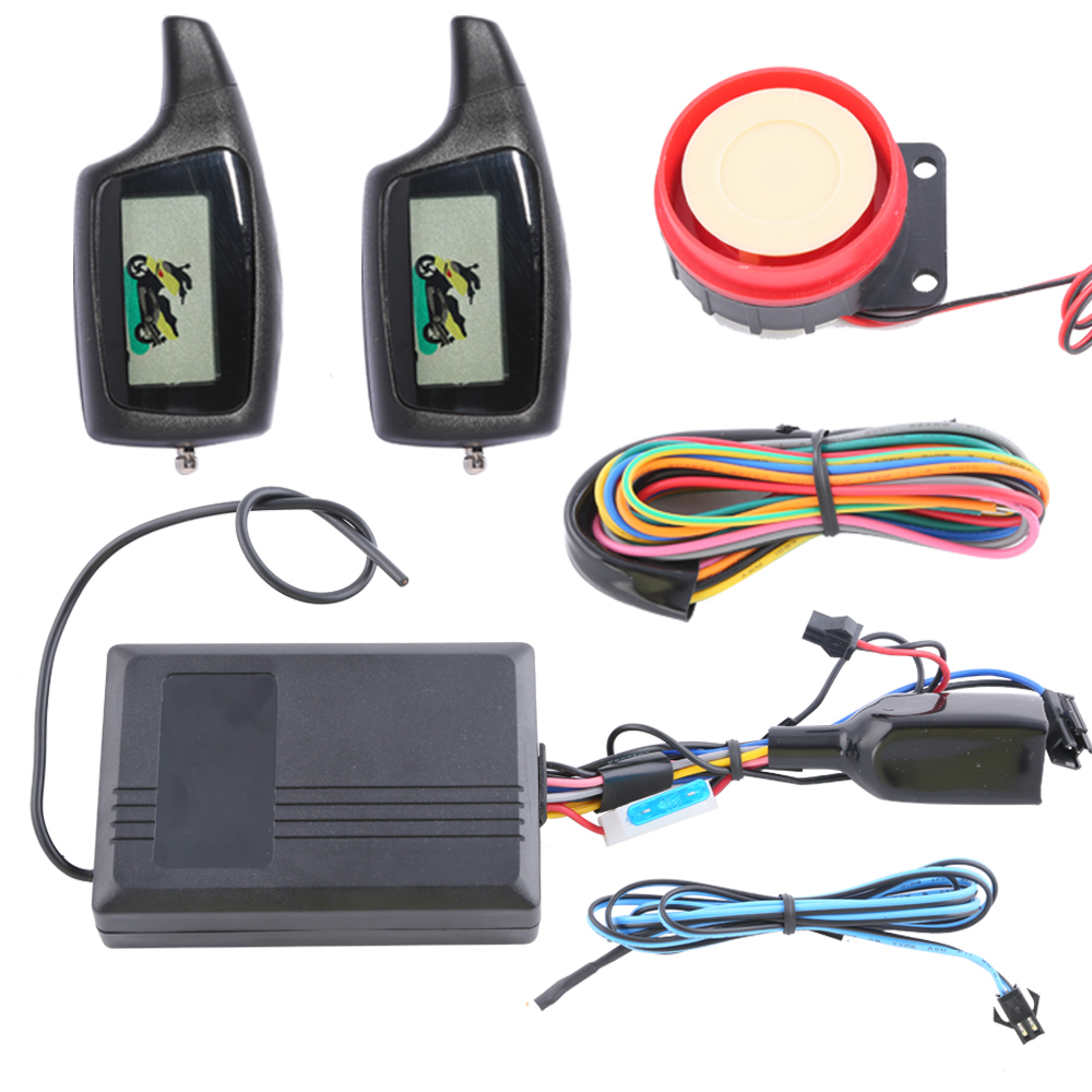 Universal two way motorcycle alarm kit with 2 LCD transmitters remote engine start panic mode and shocking alarm