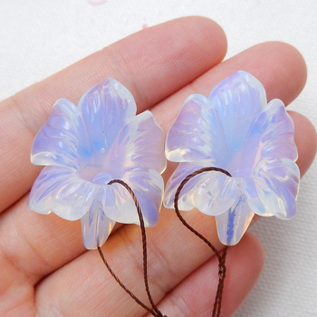 Natural Carved Flower jewelry Opalite Stone fashion woman Earring ,Semi-precious stones accessories earrings