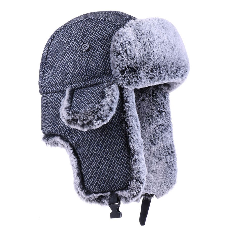 Faux Fur Trapper Hat Nylon Earflap Hunting Trooper Aviator Bomber Hats Winter Dad Outdoor Sport Snow Ski Caps Russia Ushanka Hat(China)