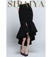 SIPAIYA Ruffles Split Women Mermaid Skirt New Arrival Fashion Trumpet Skirts Elegant Office Work Wear Lady Party Saia Hot Skirts