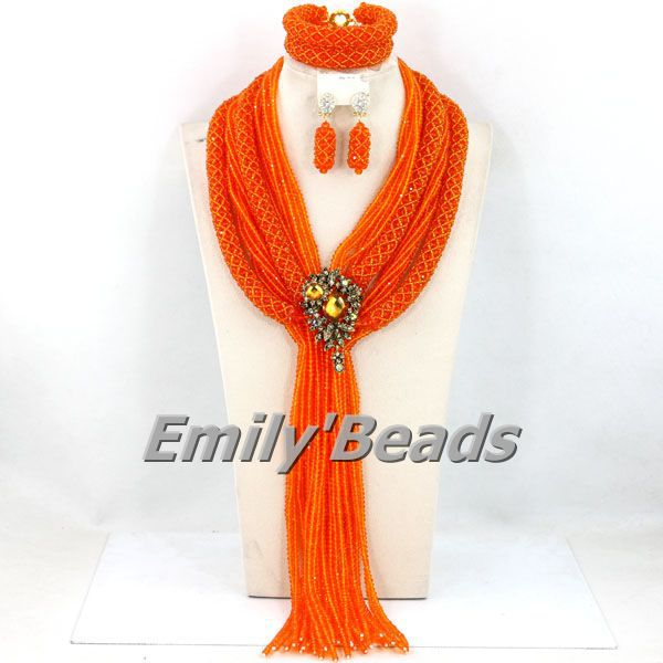 2015 New Fashion Nigerian Wedding African Beads Jewelry Set Party Big Crystal Beads Brial Jewelry Set Free Shipping AEJ852