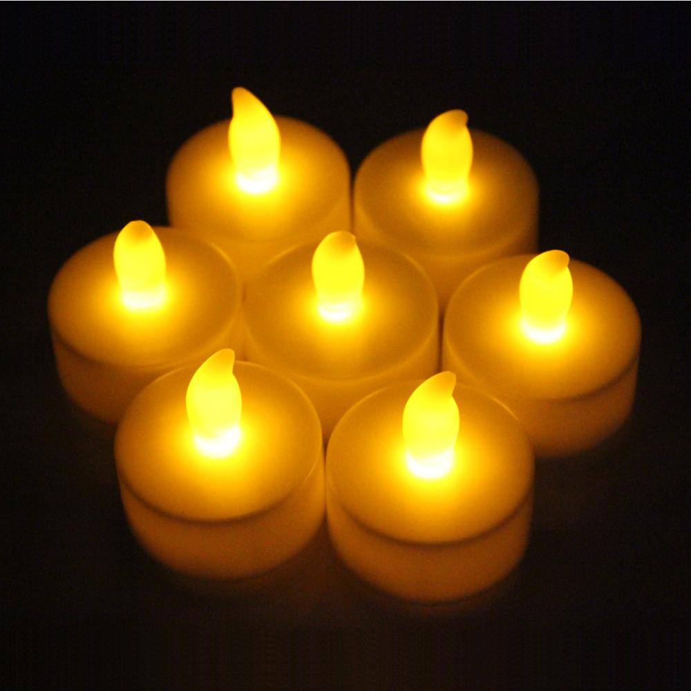 12Pcs LED Electronic Candle Light White&Yellow Light Flickering Tealight Lamp for Holiday Wedding Party Safety Flicker Lamp