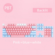 104 Keys/set PBT keycaps Double shot Mechanical Keyboard Backlit Key Caps Pink Blue White For Ajazz AK35I And Other MX Switch
