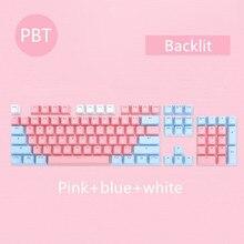 104 Keys/set PBT keycaps Double-shot Mechanical Keyboard Backlit Key Caps Pink Blue White For Ajazz AK35I And Other MX Switch
