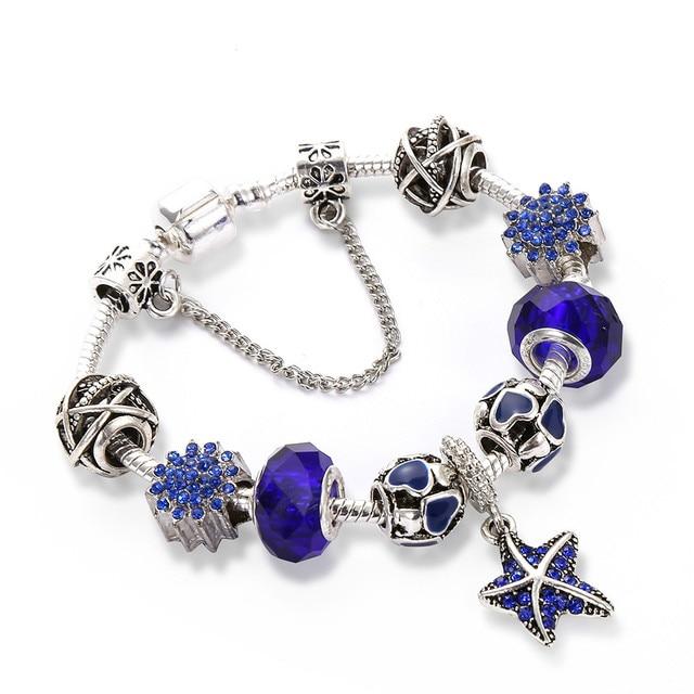 Hot Sale Ocean Style Starfish Women Charm Bracelets Fashion Blue Crystal Glass B