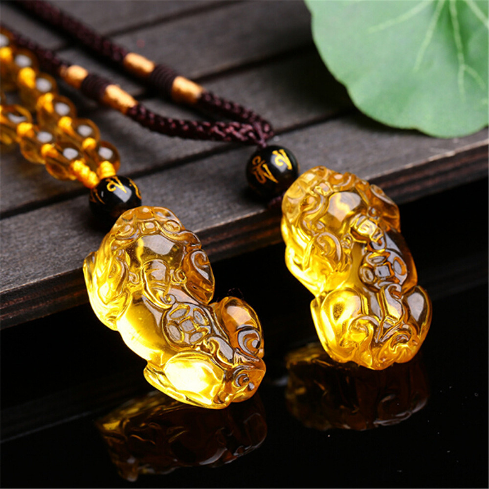Chain Pendant Sweater Amulet Pixiu Citrine Yellow Necklace Crystal Hand-Carved Natural