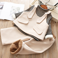 Hurave winter warm woolen children's clothing sets autumn baby girl sets of clothes vest + shirt + Casual Pants 3 pcs set