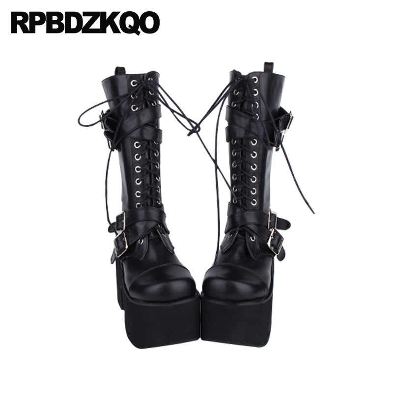 Giày Chống Nước Size Lớn Gothic Nền Tảng Giày Punk 12 44 Giữa Bắp Chân Đá Nhật Bản 10 Phụ Nữ 13 45 Cực Chất Chun cao Gót Thắt Lưng
