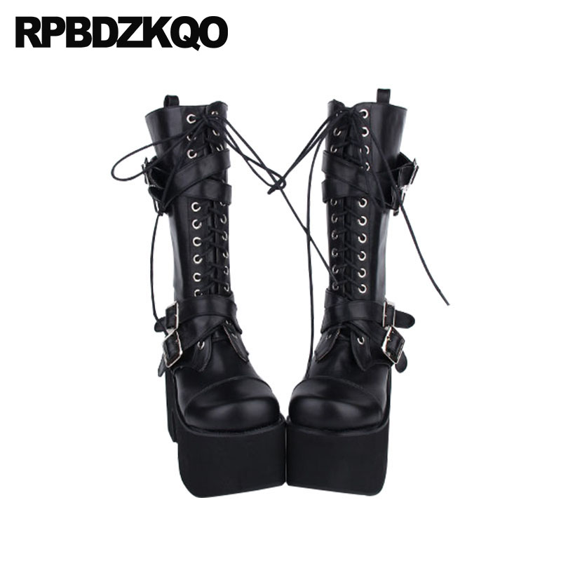 8ce25a2fabb Shoes Waterproof Big Size Gothic Platform Boots Punk 12 44 Mid Calf  Japanese Rock 10 Women 13 45 Extreme Chunky High Heel Belts