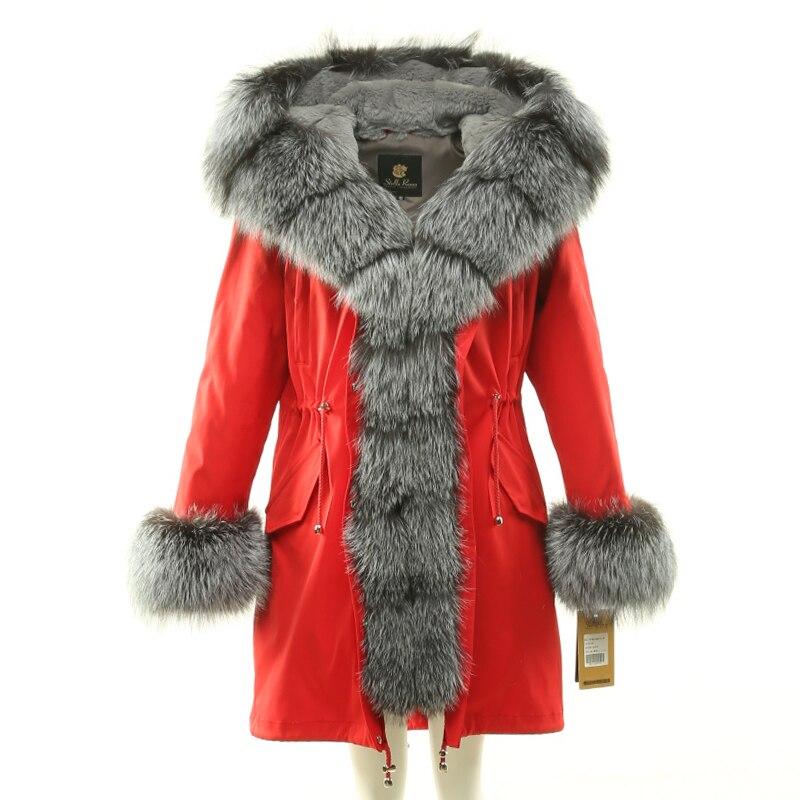 Femmes hiver long parkas manteau veste renard col de fourrure amovible doublure lapin à capuchon manchette de fourrure noir vert rouge 18007