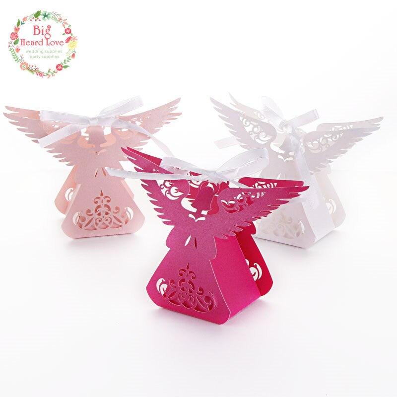 Big Heard Love 50pcs/lots Laser Cut Angel Wedding Box Souvenirs Baby Shower  Candy Box
