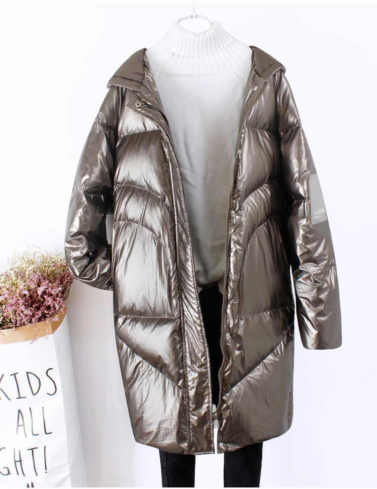 2019 Новая модная женская длинная белая пуховая куртка Женская Толстая Теплая Повседневная ветрозащитная водонепроницаемая куртка с капюшоном блестящая парка