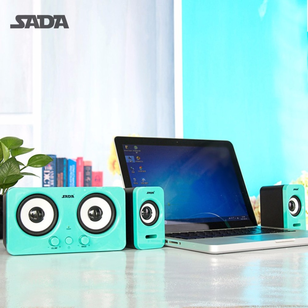 SADA Wired D-220 Laptop Speaker Stereo Bass Surround Subwoofer Portable USB Loudspeaker Volume Control For Desktop Computer