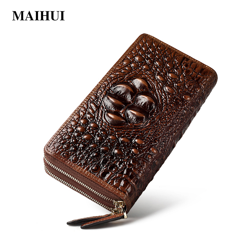 Maihui ladies purse long genuine leather wallet women with coin pocket fashion photo card holder phone wallet note compartment