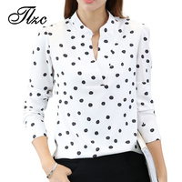 TLZC Women Fashion White Blouses Long Sleeve Clothing Size S M L Funny Print Lady Casual