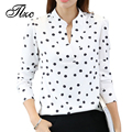 TLZC New Arrival Lady Casual V-neck Shirts Size S M L Funny Print Women Fashion White Blouses Long Sleeve Tops
