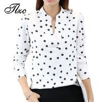 TLZC Women Fashion White Blouses Long Sleeve Clothing Size S M L Funny Print Lady Casual