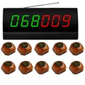 wireless service calling system,10pcs brown single  call bell and 1 pcs  receiver ,2 group color number display