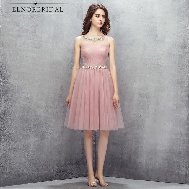 Dusty Pink Sheer Vestidos de baile corto 2017 vestido de fiesta ...