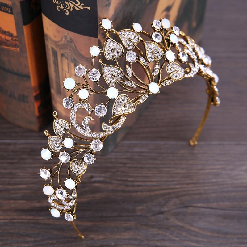 Vintage Baroque Crystal Large Crown Hair Jewelry Rhinestone Crystal Queen Bridal tiara Crown For Wedding Hair Accessories HG075