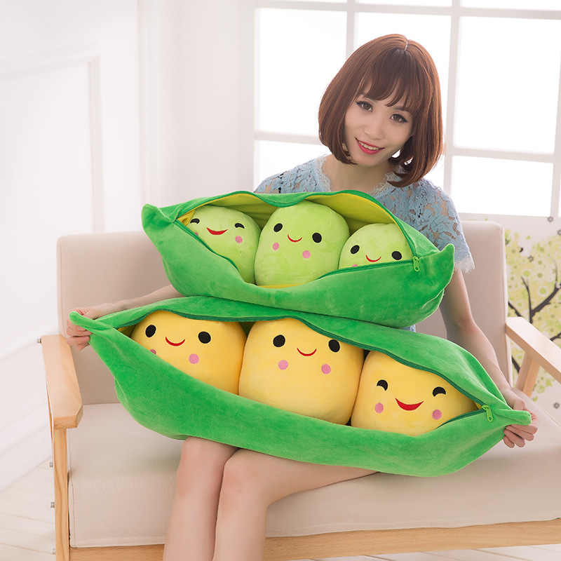 2019 New Pea Pod Cute Stuffed Plant Doll Kid Plush Toy Pea-Shaped Pillow Toy 3 Beans With Cloth Case Creative Plush Toy 2 Colors