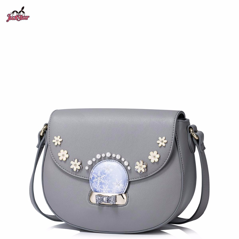 ФОТО Just Star Brand Design Fashion Collage Flower Bow Pearls PU Women Leather Girls Ladies Shoulder Crossbody Saddle Bag