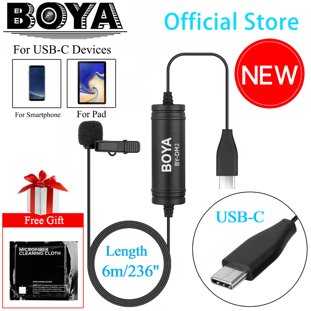 New BOYA BY-DM2 Lavalier Microphone Clip-on Mic with USB Type-C Interface for Android Smartphones Huawei Mate 10 Samsung Xiaomi