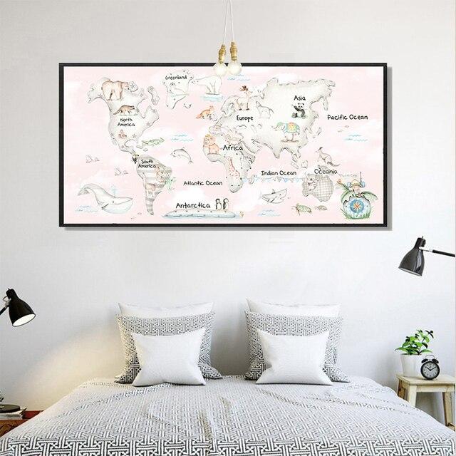 Nordic minimalist style kawaii cute animal world map canvas nordic minimalist style kawaii cute animal world map canvas painting print poster picture art wall home sciox Images