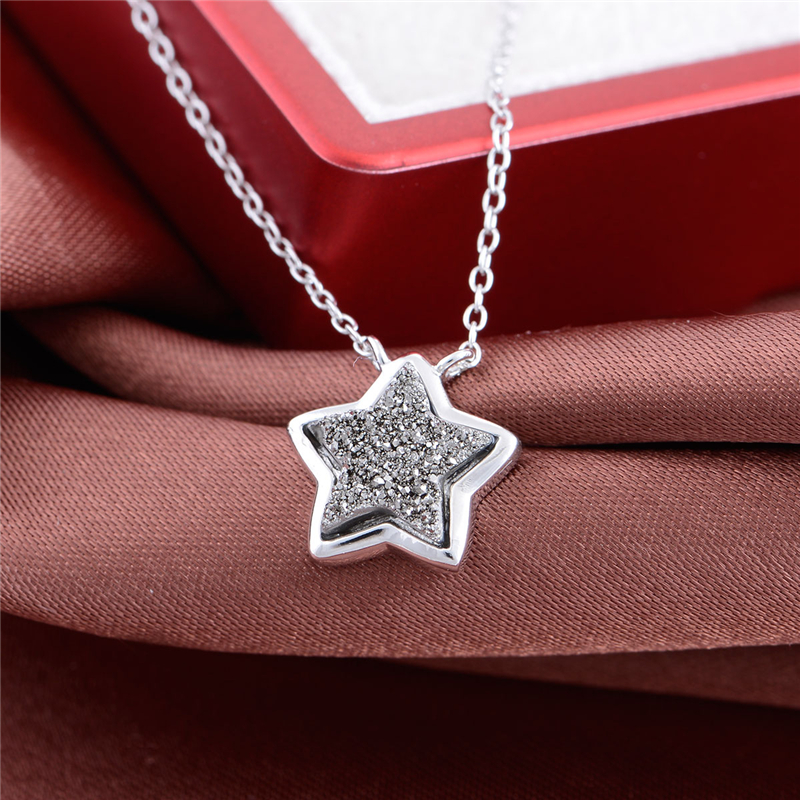 41 5CM Necklace Star Silver Pendant Genuine 925 Sterling Silver Women Fashion Style Free Shipping GW