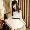 Детской одежды девочек прекрасная одежда хлопка с длинным рукавом полька dot дети платье шифон симпатичные платья размер 150 160 большая девочка платье