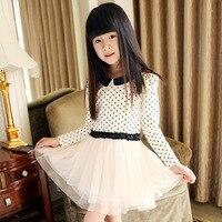 Kids wear meninas roupa linda de algodão de manga longa polka dot crianças vestido de chiffon bonito vestidos tamanho 150 160 para grande vestido da menina