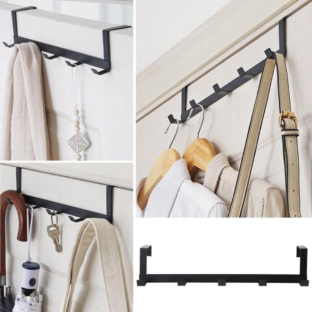 Over-The-Door Hook Rack Metal 5 Hooks Hanger Storage Holder Hanging Cloth Hooks Coat Hat Door Hooks