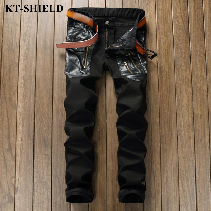 Famous Brand Black Pants Fashion Designer Jeans Men PU Leather Slim Fit Male Denim Trousers Ripped
