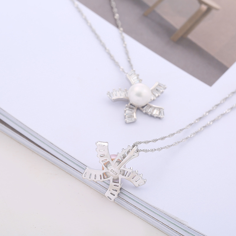 2019 Luxury S925 Sterling Silver Women Necklaces Pendants Freshwater Pearls Unique Windmill Pendants Fashion Female Wedding Jewe