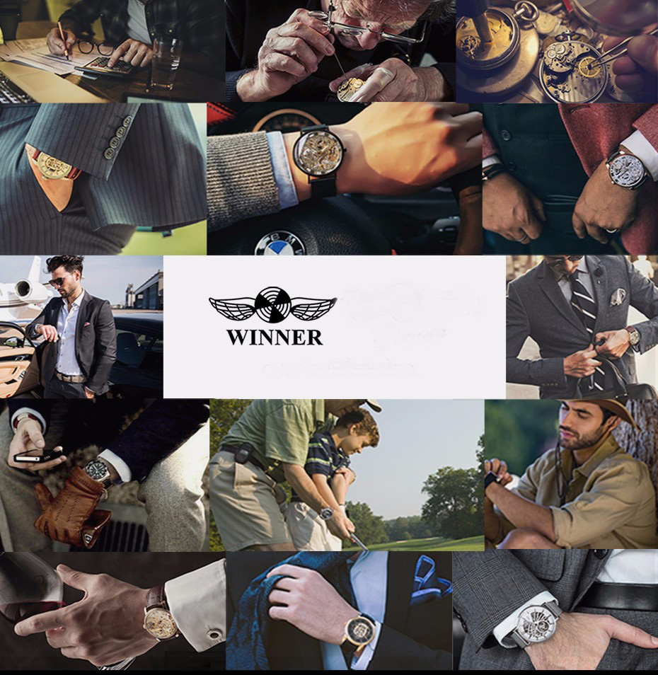 WINNER Watch Automatic Mens Watches Business Classic Auto Date Day Leather Band Skeleton Self-wind Wristwatch