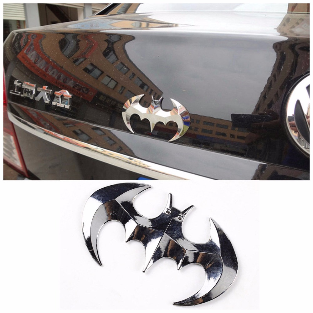 BBQ@FUKA Silver 3D Bat Shape Emblem Car Funny <font><b>Sticker</b></font> Badge Decal Styling For Mazda 3 5 <font><b>6</b></font> CX4 CX7 CX9 Ford Focus VW PASSAT <font><b>Golf</b></font> image