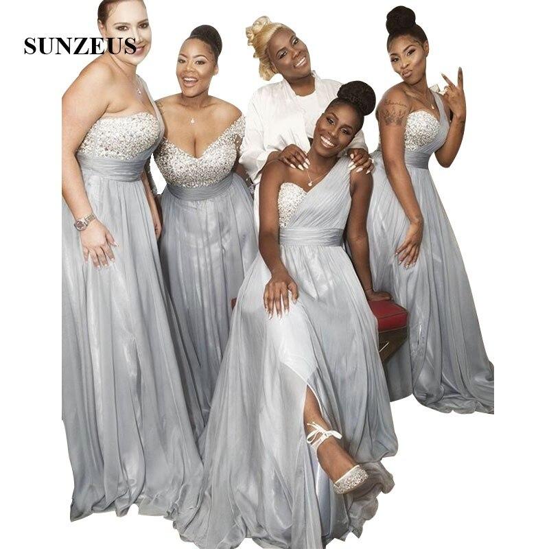 Robes de demoiselles d'honneur en mousseline de soie gris argent une épaule longues robes de fête de mariage paillettes perlées robe de femmes formelles
