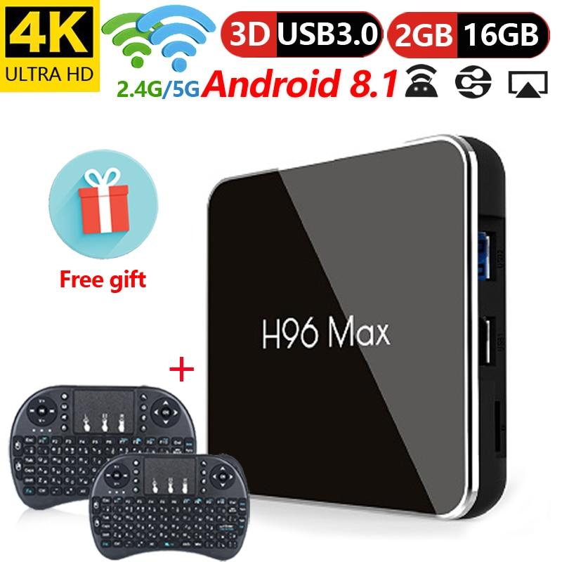 Boîtier TV H96 Max X2 Android 8.1 LPDDR4 Amlogic S905X2 Quad Core double Wifi BT4.0 USB3.0 h.265 4 k 2g + 16g décodeur PK X96 T95Q
