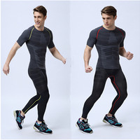 Man Gym Clothes Sets Short Sleeve T Shirt And Long Pants Sport Clothing Wicking Compression Fitness