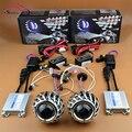 Мотоцикл Aftermarket HID Bi xenon Двойной Проектор Фары Линзы Ангел глаза Halo Healamp Линзы Комплект AC 4300 К 6000 К 8000 К H4 H7