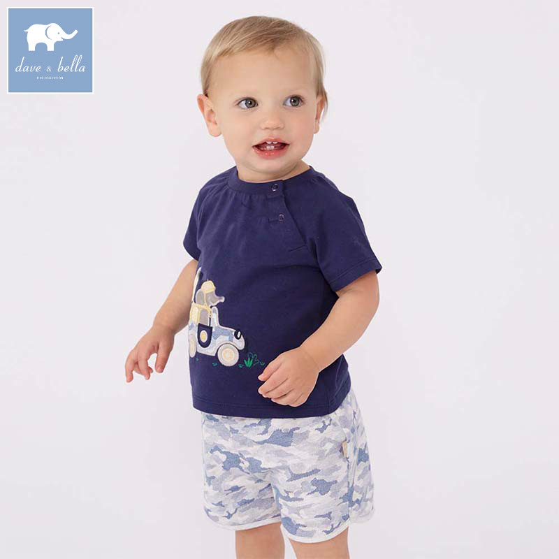 Dave bella/Одежда для маленького мальчика малыша летняя одежда модная детская Одежда наборы Дети Бутик костюм DB7195 ...