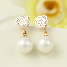 Rose flower pearl earrings stud 18k gold plated women jewelry statement jew party wedding gifts