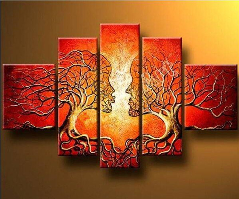 Hand Painted Abstract Lover Trees Red Oil Painting On Canvas Modern Home Wall Art 5 Panel