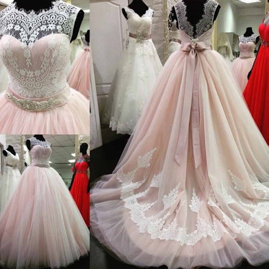 New Arrival Lace Crystal Belt Sash Open Back Pink Wedding Dress-in ...