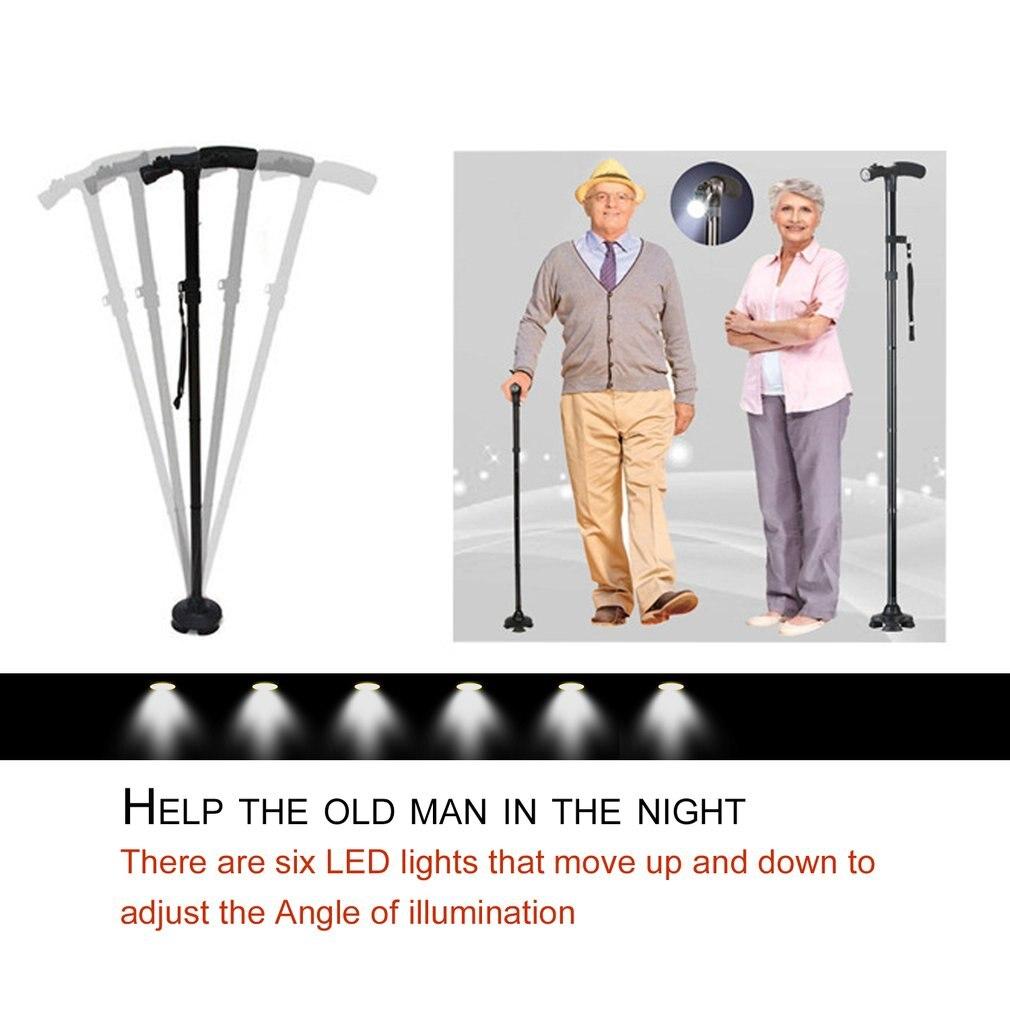 LED Licht Sicherheit Walking Stick Für Alte Mann Folding Trekking Pole T-griff Wandern Pole Cane Walking Stick Für ältesten Krücke