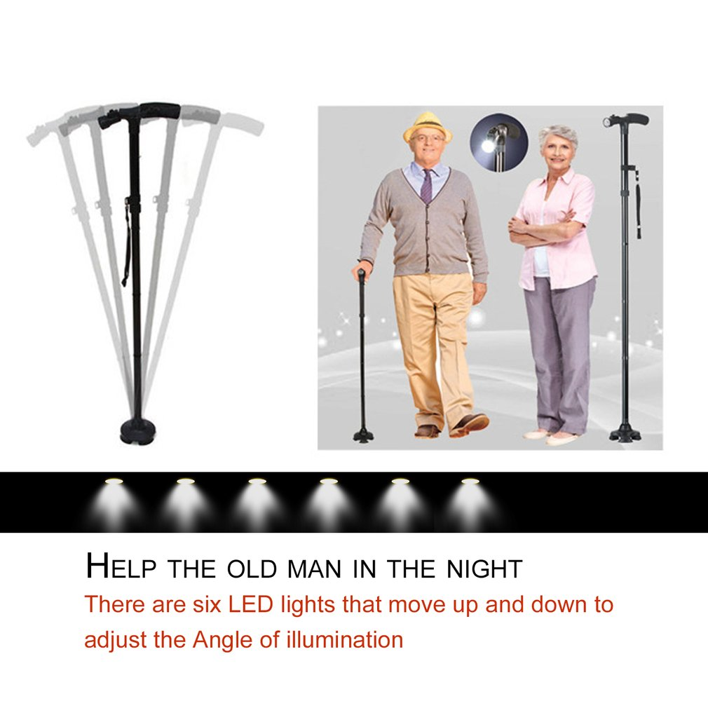 LED Light Safety Walking Stick For Old Man Folding Trekking Poles T-handle Hiking Poles Cane Walking Stick For Elders Crutch