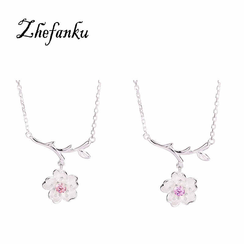 Silver Color Sakura Flower Necklaces & Pendants Cherry Blossoms With Chain Choker Necklace Jewelry Collar