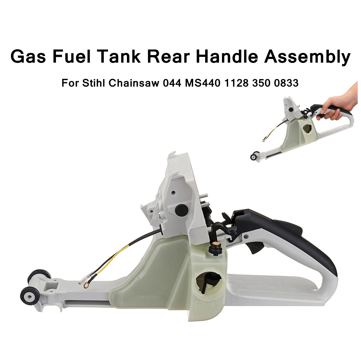 1128 350 0833 Gas Fuel Tank Rear Handle Assembly For Stihl Chainsaw 044 MS440 Garden Power Tools 41x14.5x19cm chainsaw parts for stihl 044 046 ms440 ms460 carburetor carb oil fuel line filter 1128 120 0625