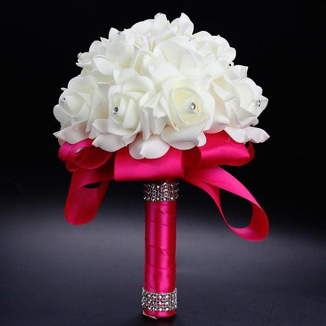 Elegant Royal Blue Purple Red Fuchsia Rose Artificial Bridal Flowers Bride Bouquet Wedding Crystal Silk Ribbon