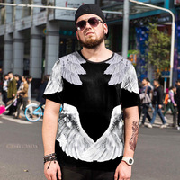 Summer trendy Large size men's Printed Ice silk shirt T shirt male Plus size personalized round neck Short sleeve Size 5XL 6XL